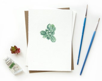 Succulent 3 Original Watercolor Illustration | Crazy Succulent Lady Mini Cactus Artwork