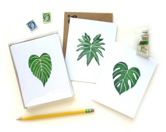 Boxed Plant Leaves Watercolor Card Set | Set of Six Handpainted Leaf Monstera Philodendron Golden Pothos Illustration Cards Kraft Envelopes