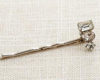 Small Rhinestone Hair Clip Embellished Bobby Pin   Handmade in USA Hair Pins 16V
