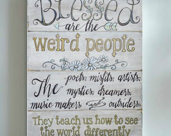 Blessed Are The Weird. Cardstock Art Print, boho pastel aqua and gold