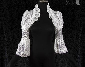 White lace shrug, cottage chic, wedding bolero, art nouveau, Somnia Romantica, approx size small - medium see item details for measurements