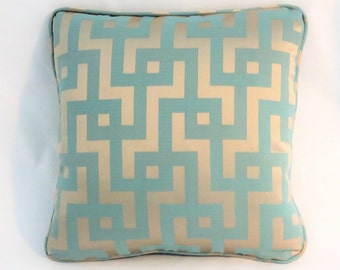"Aqua and Gold Maze Pillow, 18"" Square, Turquoise Blue with Satin Puzzle Greek Key, Welted, Ready to Ship, Cover Only or Insert Included"