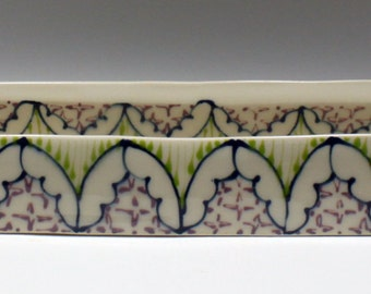 Handmade Ceramic Olive Boat with Navy, Kiwi and Purple Pattern