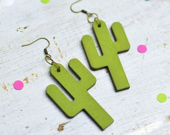 Cactus Earrings, Dangly Cactus, Statement Earrings, Plant Lady, Nickel Free