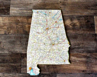 ALABAMA State Map Wall Decor | Vintage Map Decor | Perfect Gift for Any Occasion | Gallery Wall Decor | Medium size