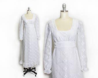 Vintage 1970s Dress - White Lace Ruffle Maxi Boho Wedding Maxi Gown 70s Roberta - XS / Small
