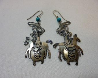 Vintage Berebi Sterling Silver Earrings Turquoise Cowboy Horse Bull 925 Dangle Native American Retro Artisan Boho Pierced Tribal