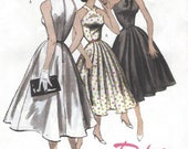 1950s Womens Retro Halter Style Dress Flared Skirt OOP Butterick Sewing Pattern B5033 Size 14 16 18 20 Bust 36 38 40 42 FF Re-Issued