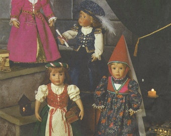 90s Andrea Schewe Midieval Costumes for 18 Inch Dolls Simplicity Sewing Pattern 8500 UnCut Renaissance Doll Clothes