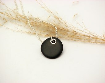 Black Beach Stone Jewelry River Rock Necklace Sterling Silver Riveted  Pebble Necklace Lake Superior Stone Organic Earthy Jewelry