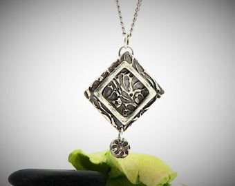 Rustic Jewelry  Sterling Silver Bohemian Pendant Square Necklace  Smple Everyday Jewelry Modern Edge Organic Eco Friendly