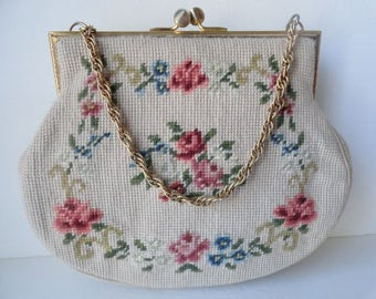 Antique 1930s PETIT POINT Floral Handbag| Needlepoint Bridal Purse|Mother's Day Cream Floral Front Needlepoint Bag|Petit Point Chain Bag