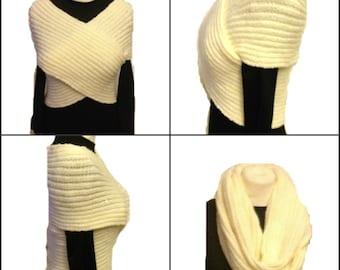 Ivory Cross Vest Sweater Hand Knit Scarf Neckwarmer Slimming Contouring Vest  Hand Made