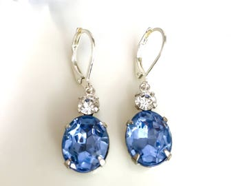 Light Sapphire Blue Earrings, Vintage 1950's Blue Crystal Rhinestones, New Silver Plate Settings, September Birthstone Prom Fall Wedding