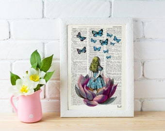 Summer Sale Alice in wonderland, Alice Looking for a pink butterfly wall hanging poster art Alice dorm wall art Girls room gift ALW013