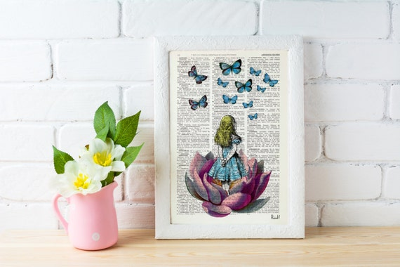Christmas Sale Alice in wonderland, Alice Looking for a pink butterfly wall hanging poster art Alice dorm wall art Girls room gift ALW013