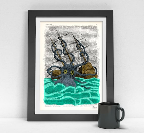 Colorful Giant Sea Monster Kraken Octopus Art Print on Vintage Dictionary page home decor,nursery octopus SEA078b