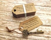 "Anniversary Party Favors - Skeleton Key BOTTLE OPENERS + ""Poem"" Thank-You Tags - Set of 50 - Ships from United States - Victoria"