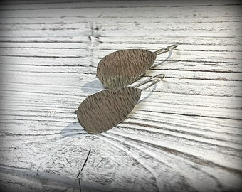 Sterling Silver Textured Paddle Earrings