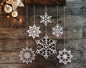 Elegant Christmas decoration - snowflakes mobile - holiday decor - crochet snowflakes and wood
