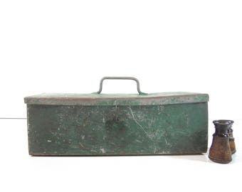 Vintage Metal Toolbox / Green Rustic Tackle Box / Industrial Storage