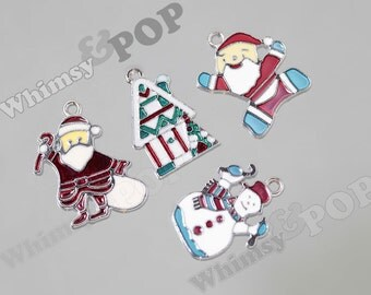 4 - Special Limited Edition Enamel Christmas Wintertime Mixed Charms, Santa, Elf, Santa's Workshop, Snowman Charms (R8-073)