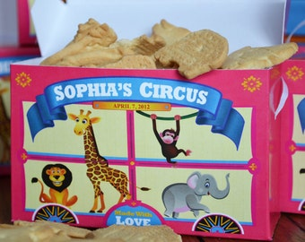 15 Personalized Pink Animal Cracker Boxes for Carnival Theme Circus Birthday Party Favors, Cookie Box, Circus Theme Birthday Cookie Box