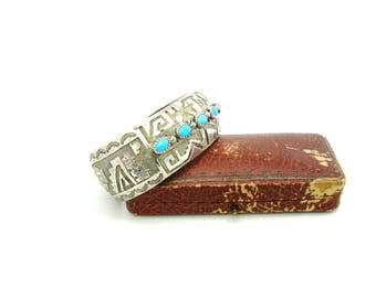 Turquoise Cuff. Native American Bracelet. Hopi Sterling Silver Overlay. Signed LB or LR, W. Pueblo Pottery, Southwestern Rocks Scene 35.2g