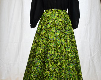 Psychedelic 60s/70s black, green and purple floral full sweep maxi skirt size S
