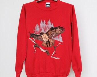 New Mexico Hawk Sweatshirt Mens Extra Large XL Unisex Womens Vintage 90s 1990s Soft Sweat Shirt Red Tail Hawk Bird Of Prey NM Tultex