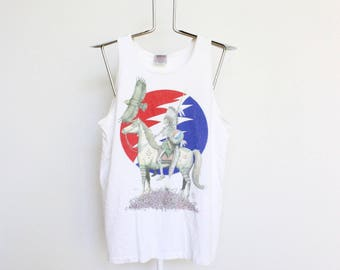 Grateful Dead Tank Top T Shirt Mens Medium Unisex Womens Tour Lot Greatful Dead Vintage 90s 1994 Rare Indian Skeleton Sleeveless Muscle