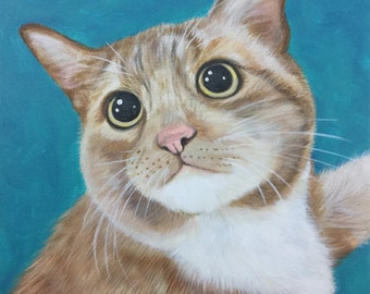 11x14 custom cat portrait personalized pet painting dog acrylic on canvas