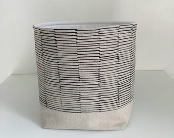 Fabric Storage Basket - Modern Basket - Linen Lines in Black - Storage Bin