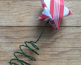 Candy Cane Tree Topper, Origami Star, Christmas Tree.