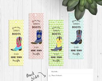 Digital, printable, Fresh and bright cowboys boot handpainted bookmarks