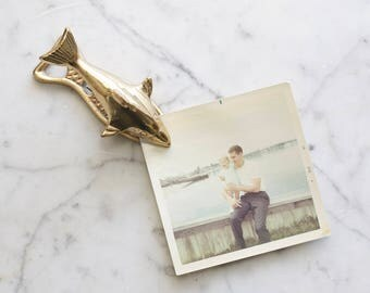 Vintage Brass Fish Dolphin Shark Paper Clip | Nautical Note Holder