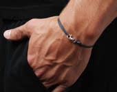 Navy Blue bracelet for men - Thin cord men's bracelet - Silver bracelet for men - Sterling silver jewelry for men - Men's mini hook bracelet