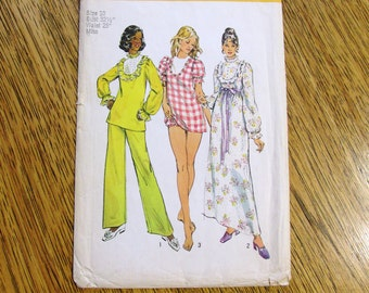 "LOLITA 1970's Pretty Nightgown, Baby Doll Nightie & Pajama Pants - Size 10 (Bust 32.5"") - VINTAGE Sewing Pattern Simplicity 6047"