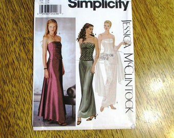 DESIGNER Evening Gown - Bustier / Corset & Sheath or A-Line Formal Skirt - Size (4 - 6 - 8 - 10) - UNCUT Sewing Pattern Simplicity 9484