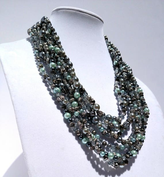 Pearl Cascade Multi-Strand Necklace