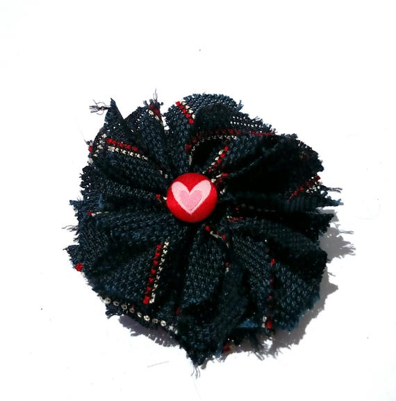 Recycled Vintage Necktie Fabric Flower Clip Pin - Navy with Heart