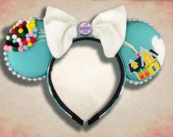 The Original Floating House Mouse Ear Headband with Bow and Badge