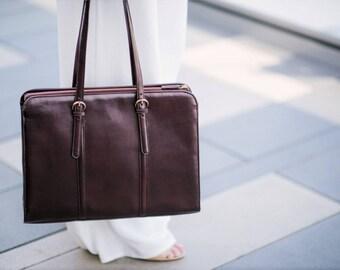 "Leather briefcase women - Leather laptop bag women - 15"" laptop bag - Office bag women - Slim leather briefcase - Convertible laptop bag"