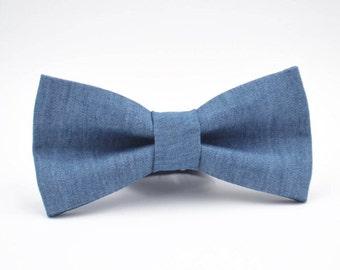 Mens Bowtie in Medium Denim, Mens Denim Bow Tie, Periwinkle Bow Tie, Adjustable Bow Tie by AmandaJoHandmade on Etsy