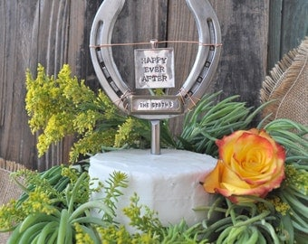 Western Ranch Wedding Cake topper horseshoe personalized, ranch wedding, custom cake topper, western grooms cake topper