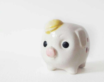 Vintage Little Piggy with a Cap Planter