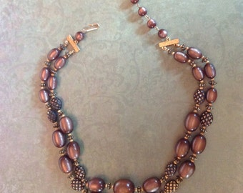 Chocolate Lucite Double Strand Necklace