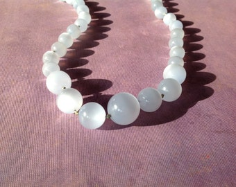 Pale Blue Lucite Necklace Graduated Beads Hand Knotted