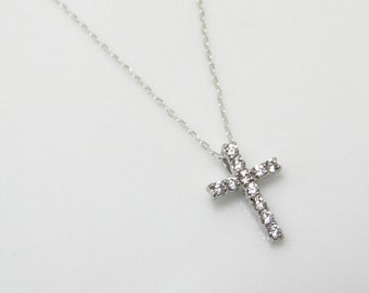 CZ cross necklace, silver cross necklace, diamond cross necklace, cross pendant necklace