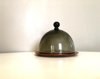 Mid Century Modern Round Teak Cheese Tray with Smoke Glass Domed Lid / Glass Domed Cheese Appetizer Tray / Teak Cheese Board